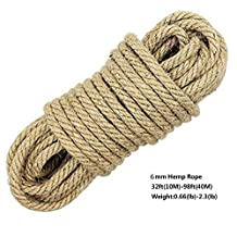 100% Natural Hemp Ropes - LUOOV 6mm Thickness and Strong Jute Rope,Multi Purpose Utility Sisal Rop,10m(32ft)-40m(128ft) (40m(128ft))