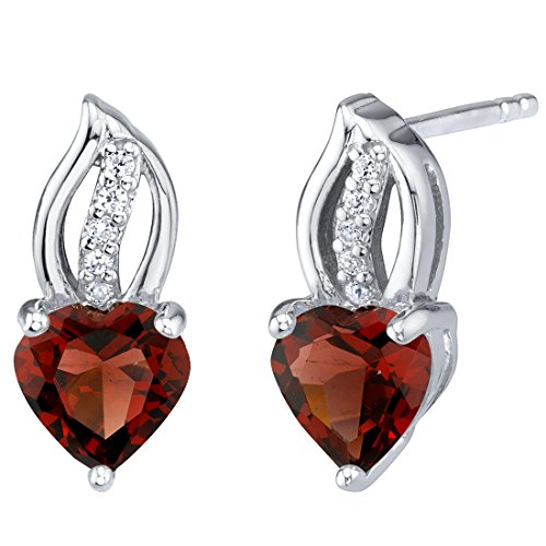 Garnet Sterling Silver Heart Earrings 2.00 Carats Total (Garnet Raspberry Ring)