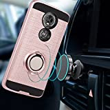 Moto E5 Plus Case Moto E5 Supra Case with HD Screen Protector,Ymhxcy 360 Degree Rotating Ring & Bracket Dual Layer Resistant Back Cover for Motorola E Plus (5th Generation)-ZH Rose Gold