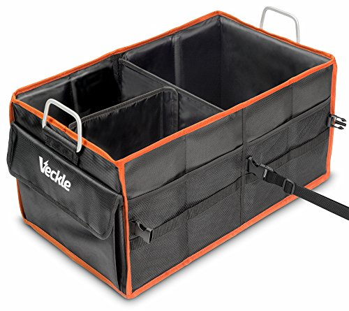 Car Trunk Organizer, Veckle 1680D Durable Collapsible Car Storage Box with Straps, Metal Handles Big Capacity Heavy Duty Foldable Car Auto Trunk Organizer For Car Vehicle SUV Van Truck Groceries, Home