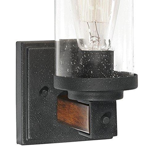 Barrington 1-Light Distressed Black and Wood Cylinder Vanity Light