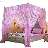 Mengersi 4 Corner Post Princess BedCurtain Canopy Mosquito Net For Girls Bed Canopies (Pink, Queen)