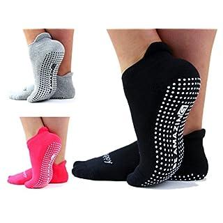 Non-Slip Socks Yoga Barre Pilates Hospital Maternity Sock w/ Grips For Women Men 3 Pairs Black Pink Gray