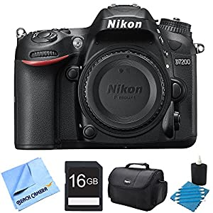Nikon D7200 DX-Format 24.2MP Digital HD-SLR Body 16GB bundle includes camera body, lens cleaning kit, compact gadget bag, 16GB memory card and micro fiber cloth