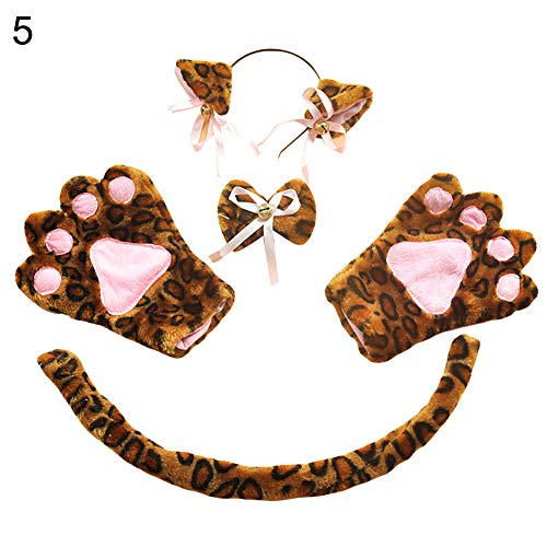 (LeSharp Pretend Play, 5Pcs Kitten Cat Ear Bow Tail Glove Cosplay Role Play Set Party Anime Costume - Leopard)