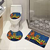 Carl Morris Psychedelic bath rug set piece Ethnic Spiritual Faith Prince Eastern Tribal Ancient Oriental Bohemian Image Elongated Toilet Lid Cover set Orange Blue