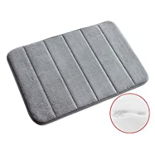 "VANRA Bath Mat Bath Rugs Anti-slip Bath Mats Anti-bacterial Non-slip Bathroom Mat Soft Bathmat Bathroom Carpet for Baby Kids Safety with Memory Foam Coral Velvet Fabric 15.7"" X 23.6"" (Gray)"