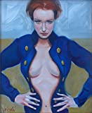 Girl in a Blue Jacket - Framed Oil Painting on Canvas, Unique & Original Art from Ireland
