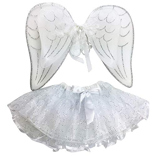 - Attitude Studio Glitter Angel Feather Costume Set - Tutu Skirt & Double Layer Elastic Wings, Pretend Play Dress Up & Pixie Fairy Party Accessory, One Size for Little Girls (2pc Set) - White & Silver