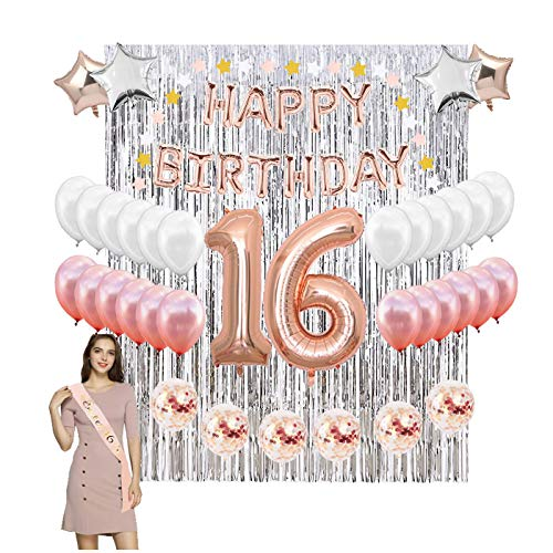- 16th Birthday Party Decoration Kit - Assorted Rose Gold Mylar Balloons, Banner, Confetti, Stars, Sash, Garland & Silver Foil Curtain Decor |Happy Sweet Sixteen 16 Bday Prop Supplies for Girls