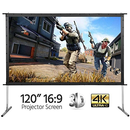 Yaheetech Portable Projector Screen 120'' 4K Movie Theater Fast-Folding Projection Screen with Stand Legs and Carry Bag 3D, HD, Ready 16:9 Indoor/Outdoor 120' Projector