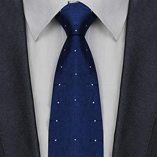 Men's Classic Navy Wave Tie Formal Business Silk Necktie + Gift Box