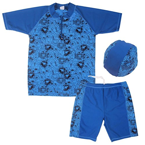 Pants Dance Lion Costumes (Suzzo Costume Series 3Pcs Set Boys UV Protection Swimsuit Bathing Swimming Suit Swimwear (UPF50+) Swimsuit Sz5-16Y with Hat The Lion King)