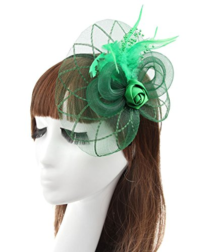 Christmas Fashion Top Hat Headband (Fascinator Hair Clip Head Hoop Headband Feather Rose Flower Derby Party Wedding (Green 2))