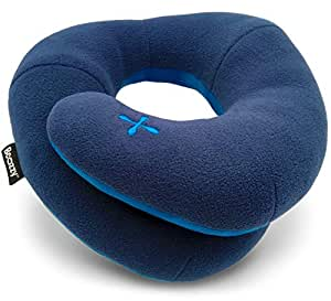 BCOZZY Travel Pillow, Patented Neck & Chin Support for Comfortable Sleep on Airplane & Car, Lightweight & Soft, Dual-Sided Climate Control Cover, Fully Machine Washable. Adult, Navy