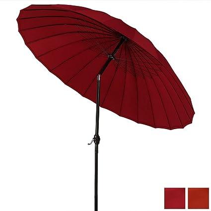 Sunnydaze 8 Foot Outdoor Shanghai Aluminum Patio Umbrella With Tilt U0026  Crank, Red