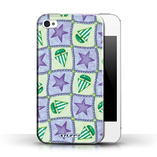 Etui / Coque pour Apple iPhone 4/4S / Pourpre/Vert conception / Collection de Bateaux étoiles
