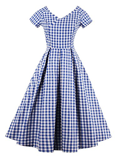 VINFA Women's Vintage V Neck Gingham Plaid A Line Swing Party Dress Blue - Cap Classic Gingham