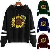 Alangbudu Women Sunflower Hoodie Long Contrast