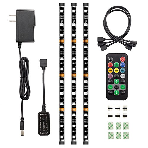 LED Strip Lights 3 x Pre-Cut Color Changing RGB Strips, HitLights Strip Lights Flexible 5050 with Remote, Power Supply and Connectors