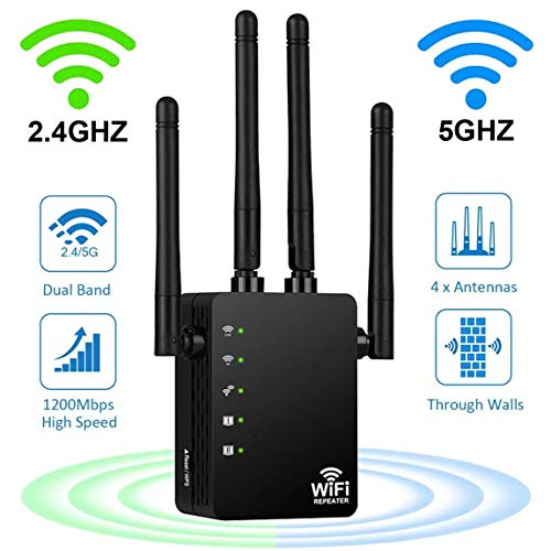 WiFi Range Extender Repeater, Latest 5GHz & 2.4GHz Dual Band 1200Mbps WiFi Repeater Wireless Signal Booster, 360 Degree Full Coverage WiFi Extender Signal Amplifier, Easy Set-Up.