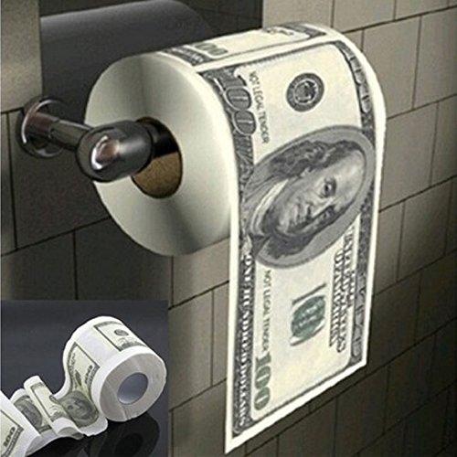 (Best Quality - Tissue Boxes - Hot Donald Trump $100 Dollar Bill Toilet Paper Roll Novelty Gag Gift Dump Trump - by LA Moon's - 1 PCs)