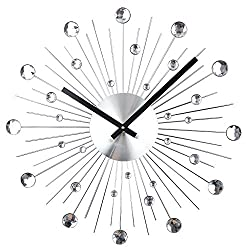 Timelike Large Crystal Wall Clock - Celebration Decorative Metal Wall Clock - Wall Clock with Crystal Accents
