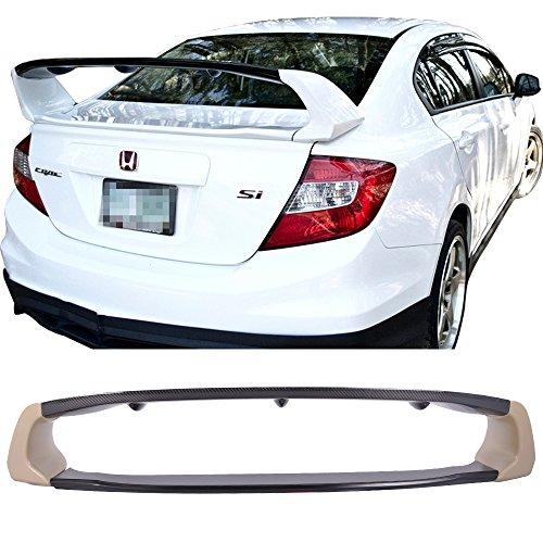 Trunk Spoiler Fits 2012-2015 Honda Civic Sedan 4 Door | ABS With Carbon Fiber CF Rear Spoiler Deck Lip Wing Bodykits by IKON MOTORSPORTS | 2013 2014