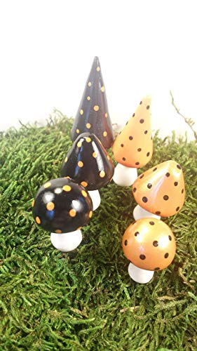 Fairy garden accessories. Miniature Halloween mushrooms. Set of 6 black and orange mushrooms. ()