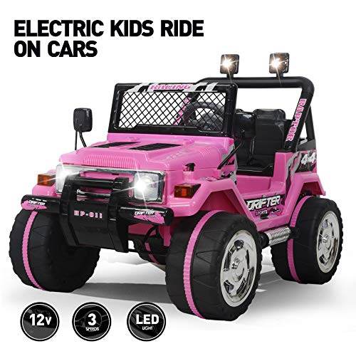 Fitnessclub 12V Kids Ride On Cars with Remote Control,Children's Electric Cars Motorized Cars for Kids LED Lights 3 Speeds Electric Toy for Kids USB -