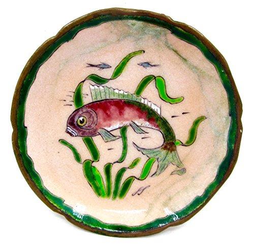 French Grand Feu Enamel Dish,Antique,original Box,Paris (1, Pink Fish)
