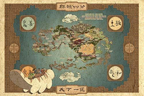 Avatar The Last Airbender Map Poster and Prints Unframed Wall Art Gifts Decor 12×18″