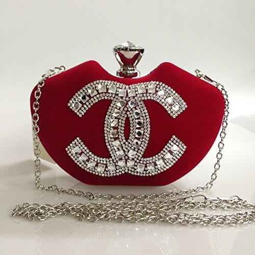 Soir ner Mari Diamant e Main Argent D Sac Robe Sac Sac Main Dame e De De B Rouge Diamant De wZ05x
