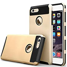"""iBarbe iphone 6 Case,iphone 6s Case,2 in 1 Shock-Absorption Bumper Cover Anti-Scratch Rubber Plastic Heavy Duty Protection Slim Hard case for iPhone 6 (4.7""""),iPhone 6S (4.7"""")(2015) - gold/Black"""