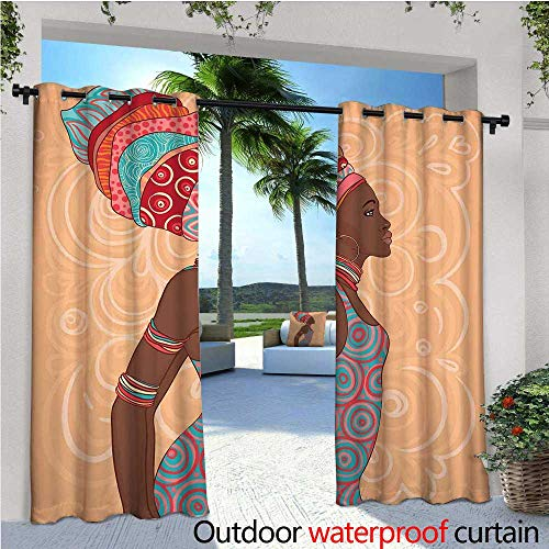 cobeDecor African Patio Curtains Ethnic Tribal Woman in Native Clothes Savannah Trends Bohemian Culture Art Image Outdoor Curtain for Patio,Outdoor Patio Curtains W120 x L96 Multicolor from cobeDecor