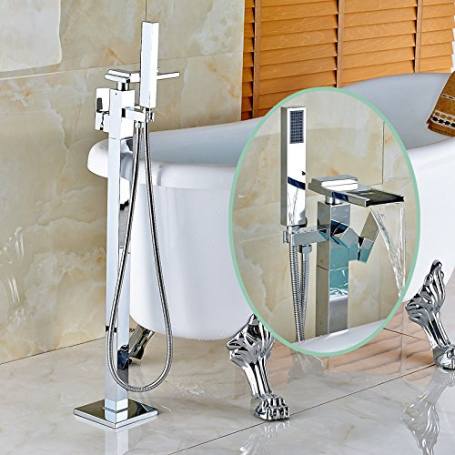 Senlesen Chrome Finish Floor Mounted Bathtub Faucet Free Standing Filler Tub with Hand Shower by Senlesen