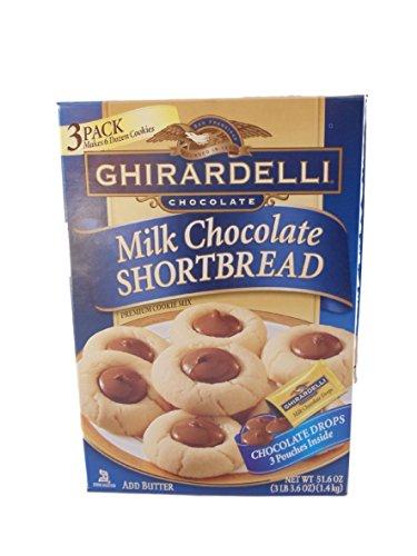 Shortbread Cookie Mix - Ghirardelli Milk Chocolate Shortbread Chocolate Drop Premium Cookie Mix 3 Pouches Inside Box, NET WT 51.6 OZ