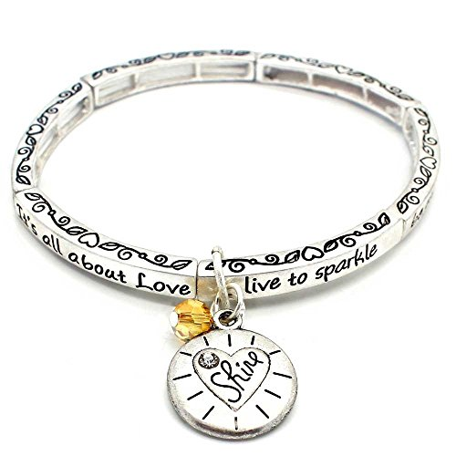 [All About Love Charm Bracelet, 'Shine' - This Silver Stretchy Bangle Bracelet Is The Perfect Gift] (Bay Watch Costumes)