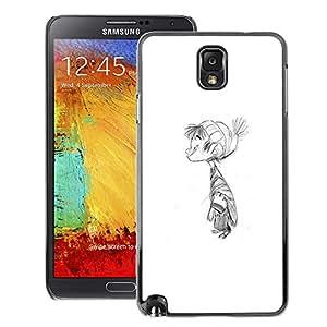 A-type Arte & diseño plástico duro Fundas Cover Cubre Hard Case Cover para Samsung Note 3 N9000 (Kid Winter Pencil Drawing Children'S)