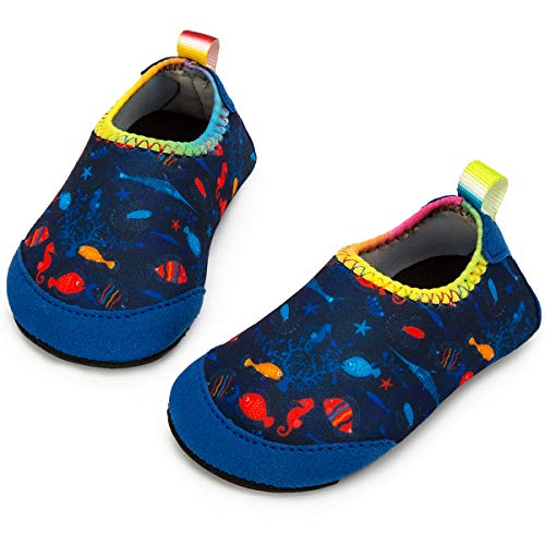 Extra Wide Toddler Shoes - Apolter Baby Boys and Girls Swim Water Shoes Barefoot Aqua Socks Non-Slip for Beach Pool