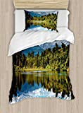 Ambesonne Landscape Duvet Cover Set Twin Size, Mirror Reflection on Lake by The Forest with Cloudy Sky in Southern Alps, Decorative 2 Piece Bedding Set with 1 Pillow Sham, Green Blue White