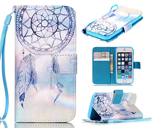 iPhone SE Case,iPhone 5S Case, iPhone 5 Case, Welity Dream Catcher [ Wristlet ][ Kickstand ] PU Leather Clutch Pouch Wallet [Credit Card/Cash Slots] Flip Cover for iPhone SE/5/5S