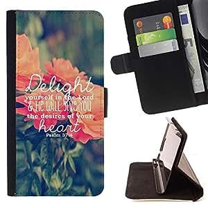 BullDog Case - FOR/Samsung Galaxy A3 / - / delights text love god spring peach green /- Monedero de cuero de la PU Llevar cubierta de la caja con el ID Credit Card Slots Flip funda de cuer