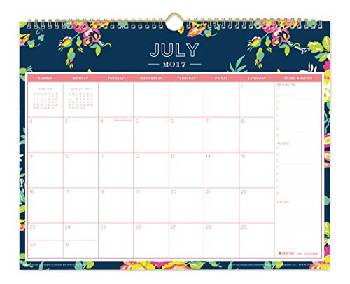 "Day Designer for Blue Sky 2017-2018 Academic Year Wall Calendar, Twin-Wire Bound, 15"" x 12"", Navy Floral"