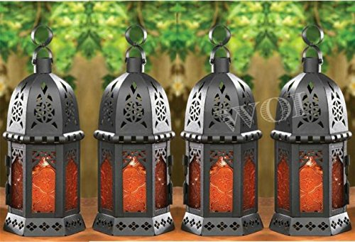 Candlelight Votive (4 Moroccan Indoor Outdoor Hanging Candle Light Lamps Porch Votive Garden Lantern)