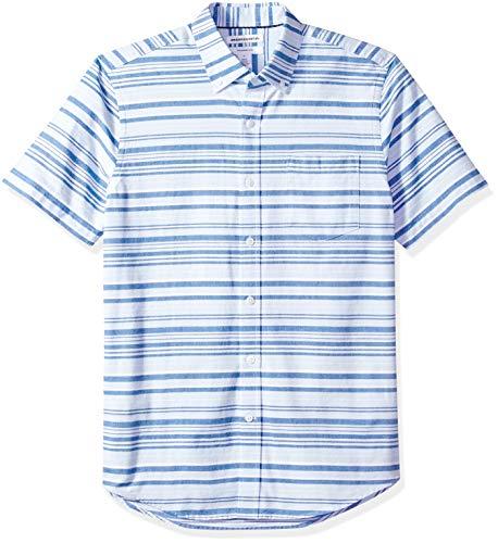 (Amazon Essentials Men's Slim-Fit Short-Sleeve Pocket Oxford Shirt, Blue Horizontal Stripe,)