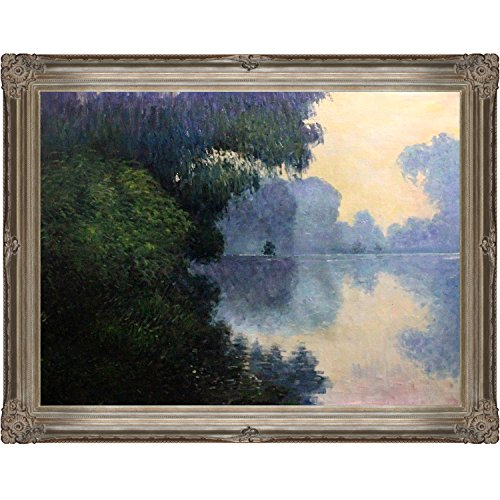 overstockArt Morning on The Seine near Giverny Oil Painting with Renaissance Champagne Frame by Monet (Renaissance Champagne Frame)