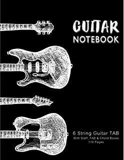 Guitar Notebook: Guitars in Vintage, Music Paper, Blank Manuscript Pages, 6 String