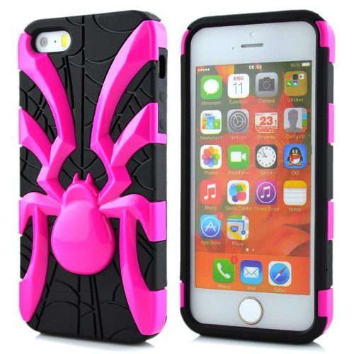 5s Case, iPhone 5s cas, Lantier 2 en 1 Cool Preuve Araignée antichoc Goutte Armure Heavy Duty robuste étui souple en silicone pour Apple iPhone 5 iPhone 5s Hot Pink