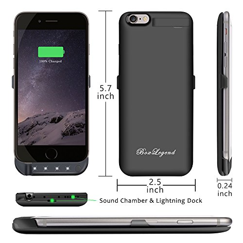 BoxLegend 3000mAh Polymer Battery Charger Charging Case for iphone 6/6s - Black by BoxLegend (Image #5)